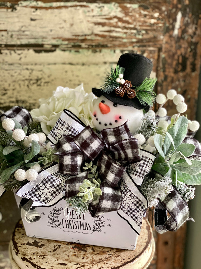 The Lacy Black & White Buffalo Check Snowman Christmas Centerpiece For Table~rustic farmhouse decor~Snowman Cotton winter arrangement