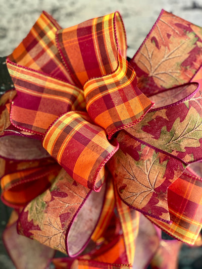 The Christie Orange & Yellow Fall Bow For Wreaths and Lanterns~ Plaid Bow, autumn bow, mailbox bow, country farmhouse bow~swag bow