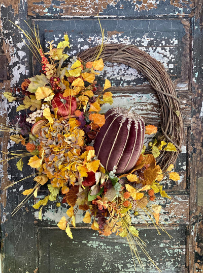 The Karen Yellow & Russet Pumpkin Fall Wreath For Front Door~French country cottage wreath~Farmhouse bling wreath~Cabin decor