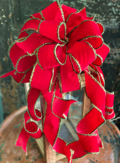 The Martha Mae Red & Green Christmas tree topper bow-bow with long streamers-xl bow for wreaths-swag bow-mailbox bow-lamppost bow