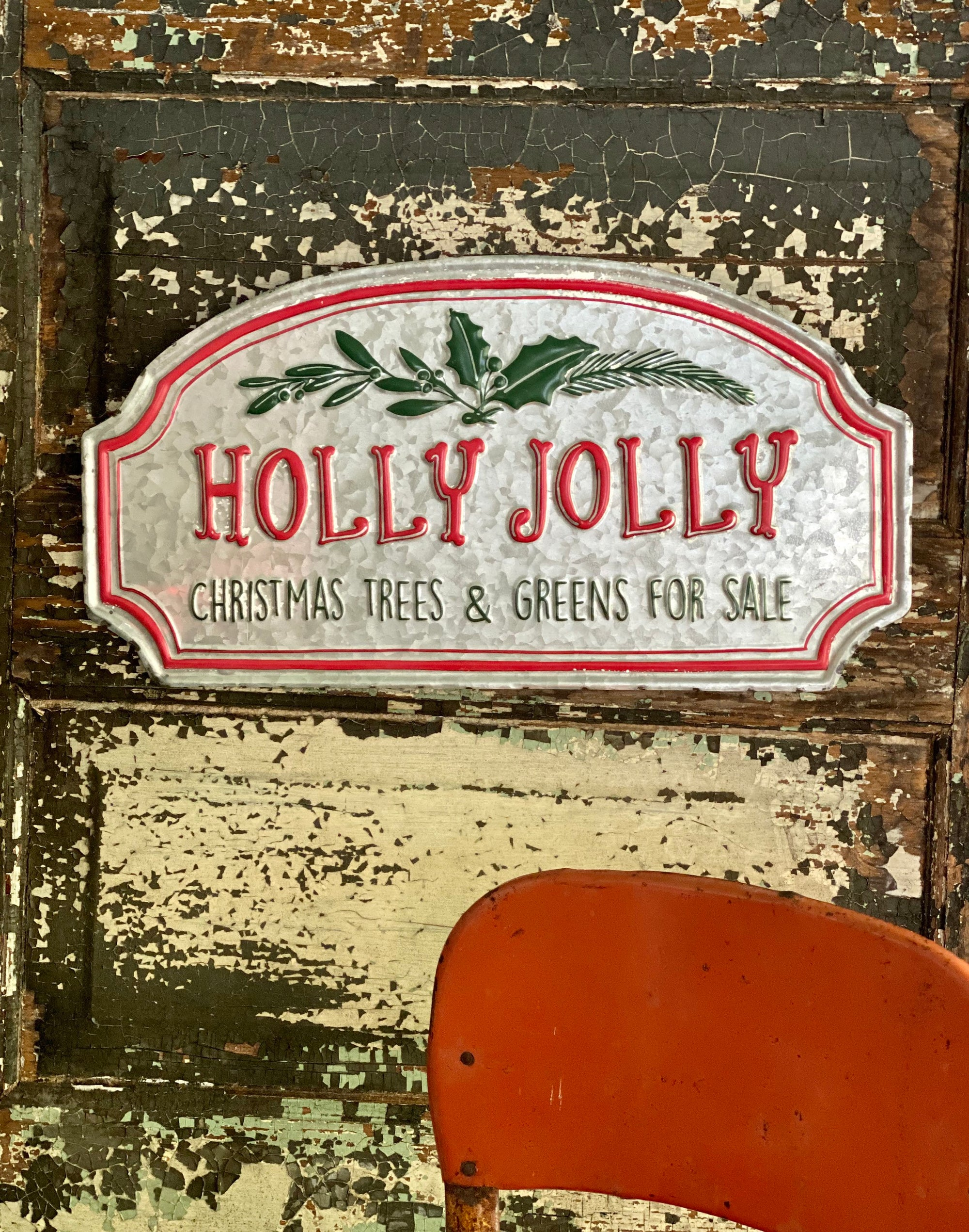 Vintage Style Galvanized Red & Green Holly Jolly Tree Farm Sign~farmhouse Christmas decor~rustic decor~Xmas decor~cabin decor~holiday sign