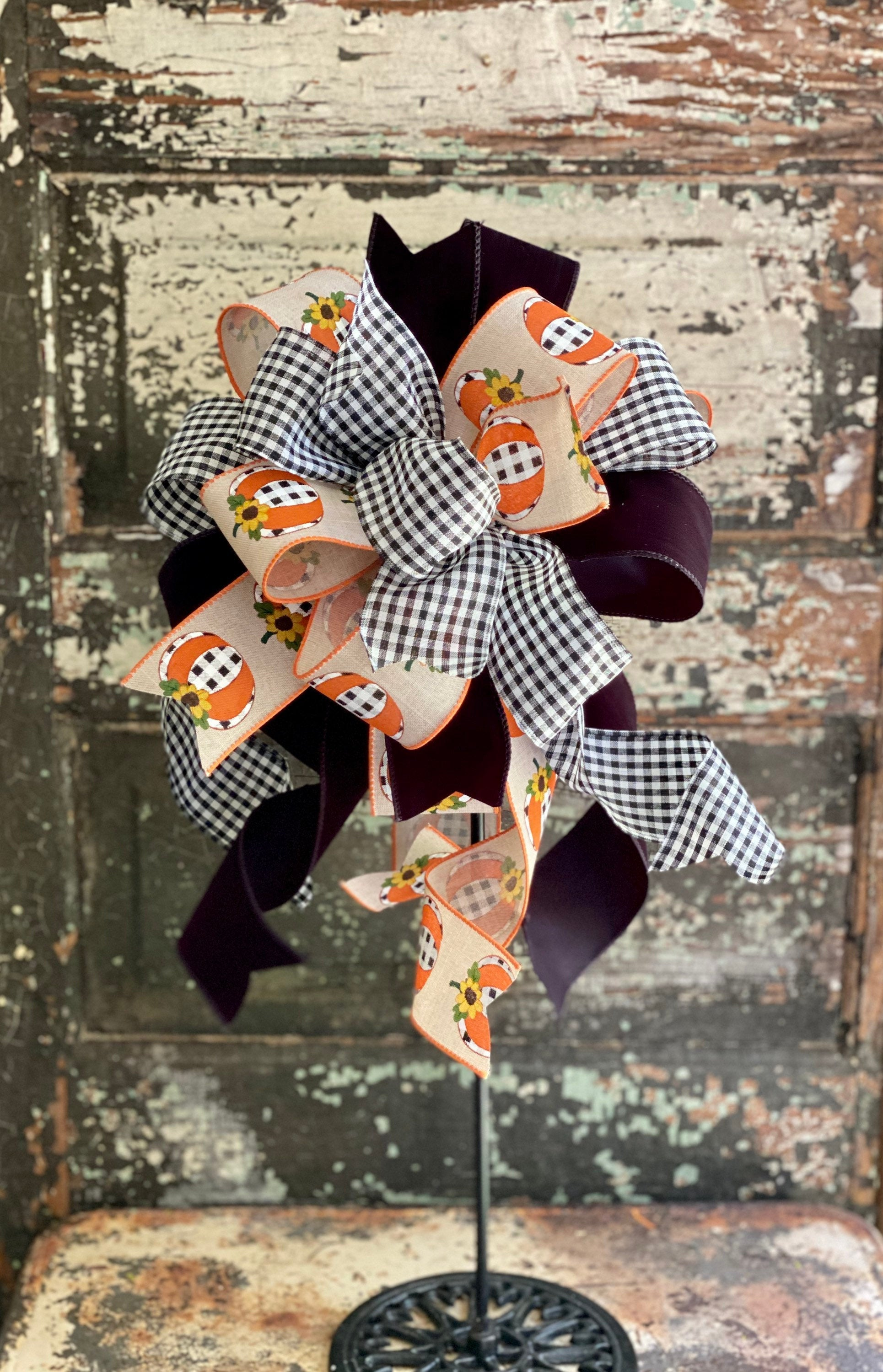 The Carla Black & White Pumpkin Bow For Wreaths, Lantern bow, Fall bow, farmhouse bow, Autumn bow
