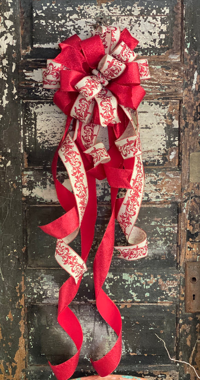 The Marley Red & Tan Christmas tree topper bow-bow with long streamers-xl bow for wreaths-swag bow-mailbox bow-lamppost bow