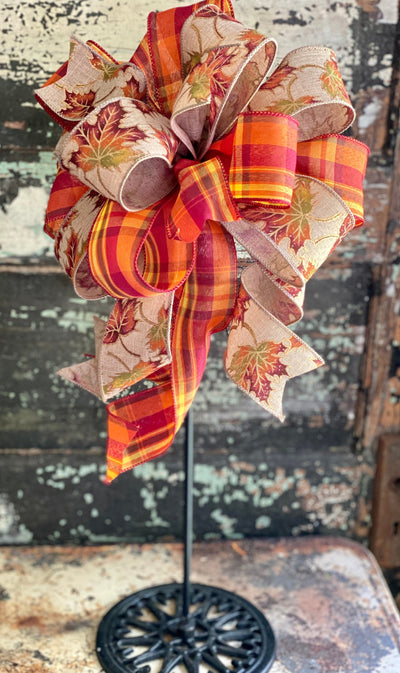 The Sherry Orange & Yellow Fall Bow For Wreaths and Lanterns~ Plaid Bow, autumn bow, mailbox bow, country farmhouse bow~swag bow