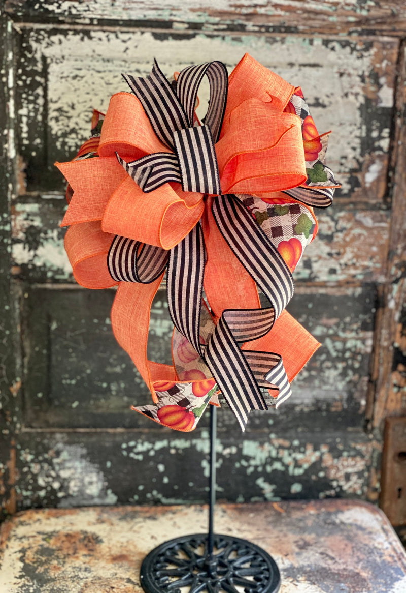 The Jerica Orange  Black & Tan Pumpkin Bow For Wreaths, Lantern bow, Fall bow, farmhouse bow, Autumn bow