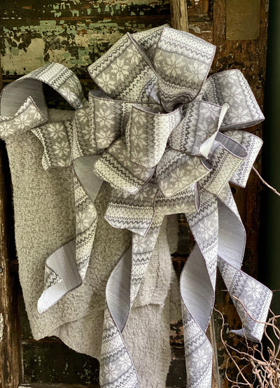 The Elsa White & Grey Christmas Tree Topper Bow~Christmas Sweater bow for wreaths, holiday bow, Lodge style bow, Winter bow, christmas decor