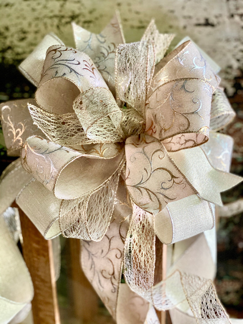 The Comet Cream Silver & Gold Christmas Tree Topper Bow~Bow for wreaths~Xmas bow for lantern~large bow~long streamer bow~mailbox decor