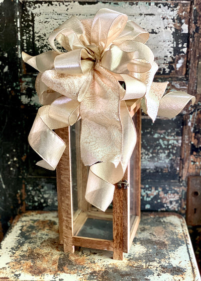 The Ashley Gold & Cream Christmas Tree Topper Bow~bow for wreaths, ribbon topper~Large bow for christmas tree~swag bow