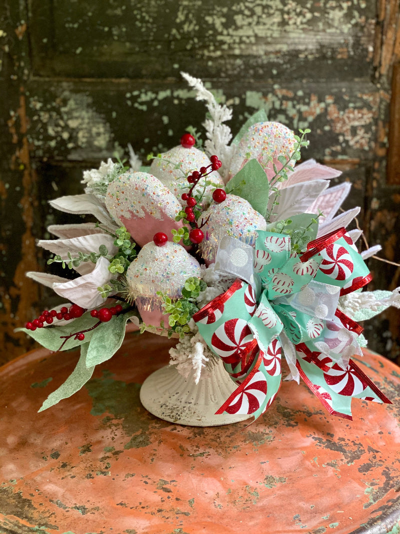 The Crystal Cream & Pink Cupcake Christmas Centerpiece For Table, Winter centerpiece, mint iced fake bake candy arrangement for dining table