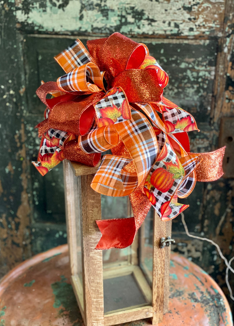 The Hazel Orange Black & White Pumpkin Bow For Wreaths, Lantern bow, Fall bow, farmhouse bow, Autumn bow