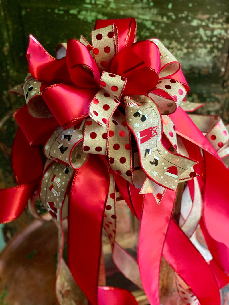 The Emilia Red & Tan Christmas tree topper bow-bow with long streamers-xl bow for wreaths-swag bow-mailbox bow-lamppost bow