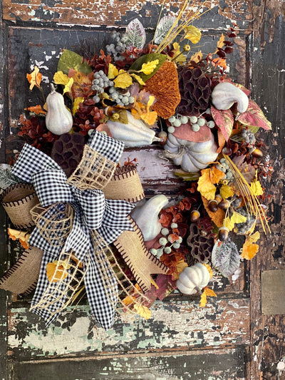 The Kelly Yellow Sage & Russet Pumpkin Fall Wreath For Front Door~Autumn country cottage wreath~Farmhouse fall leaf wreath~Cabin decor
