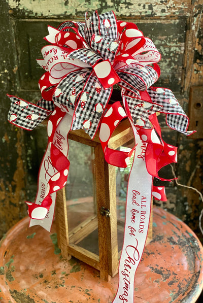 The Gnomeo Red Black & White Buffalo Check Christmas Bow, bow for lantern, bow for wreaths, long streamer bow for mailbox, christmas decor