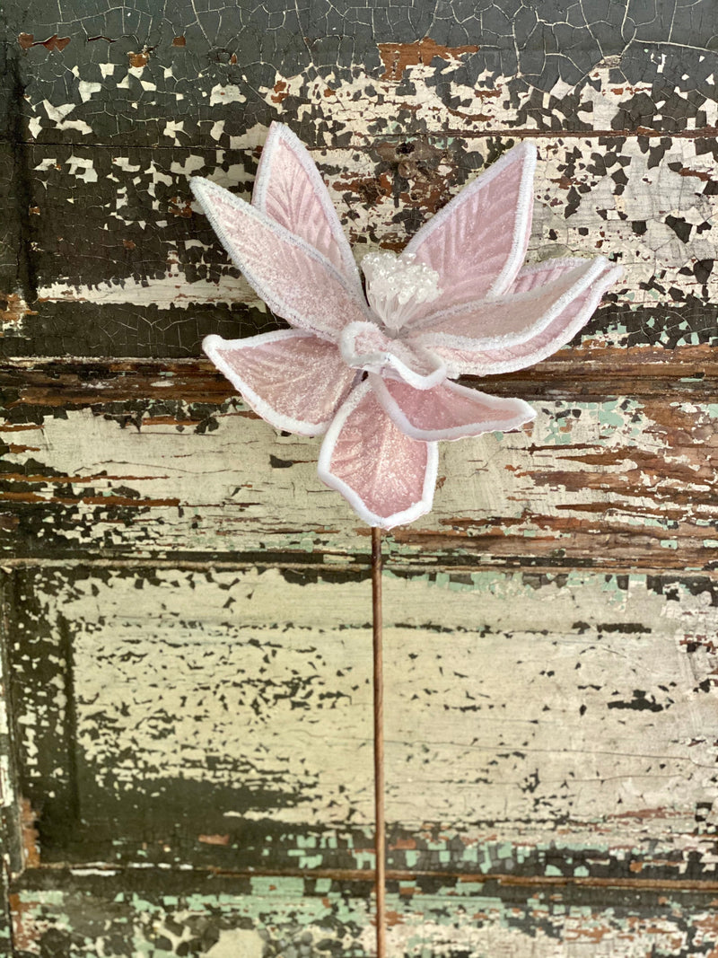 Faux Frosted Cotton Candy Pink Poinsettia Stem, Pom edge Christmas poinsettia flower, Silk flower stem, artificial flower stem, craft supply