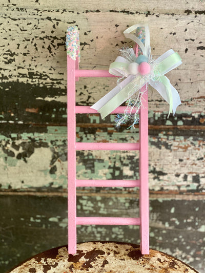Christmas Candy Cane Ladder, Christmas tree decor~Glitter sprinkle pink mint ornament~Xmas Candy cane decor~Christmas decor