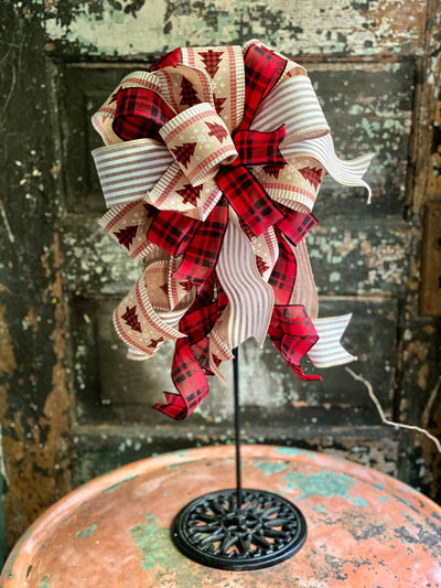 The Annika Red Black & Tan Christmas Tree Topper Bow~Bow for wreaths and lanterns~Xmas Bow buffalo check~Swag Bow~Farmhouse ChristmasDecor