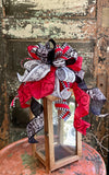 The Alesia Red White & Black Farmhouse Snowflake Christmas Tree Topper Bow~buffalo check wreath bow~bow for lanterns~mailbox bow