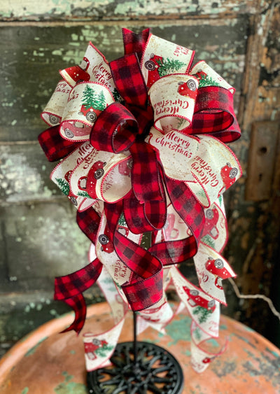 The Christabel Red Black & Tan Vintage Truck Christmas Tree Topper bow~farmhouse bow for wreaths~buffalo check countrylantern bow~rustic bow