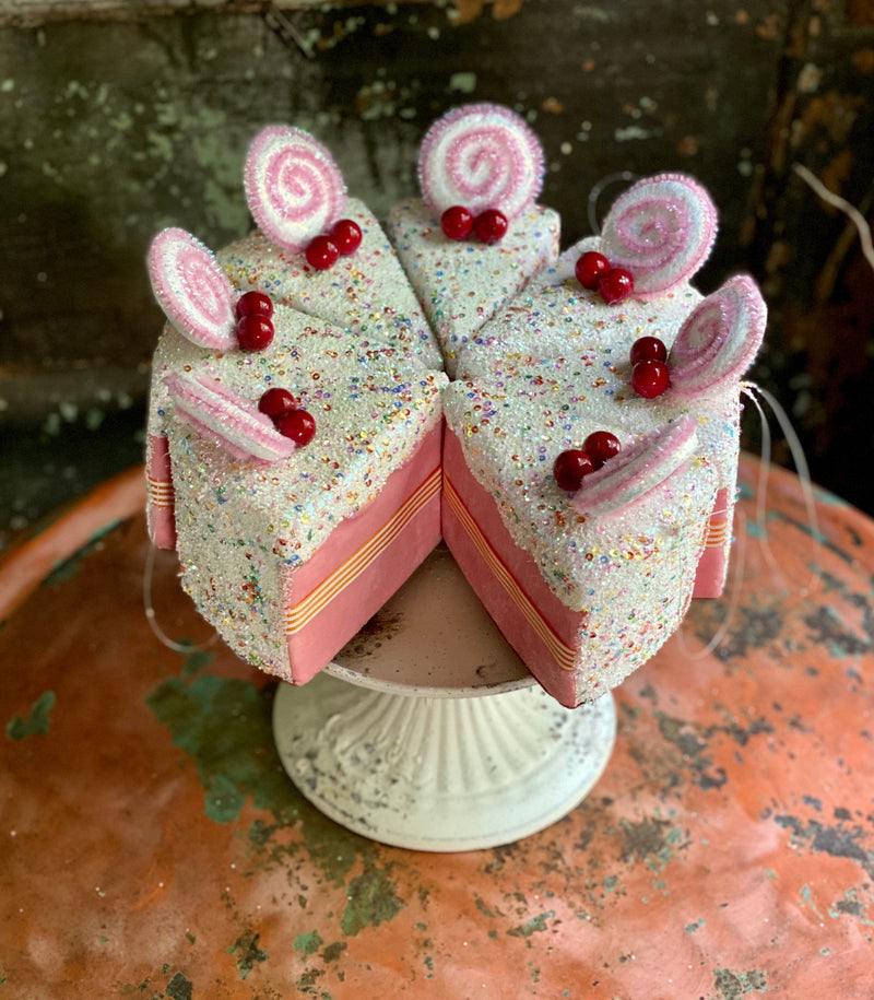 Glitter sprinkle cake slice ornament, Christmas Bakery decor~Fake bake pink white cake decor~Xmas Candy~Christmas decor