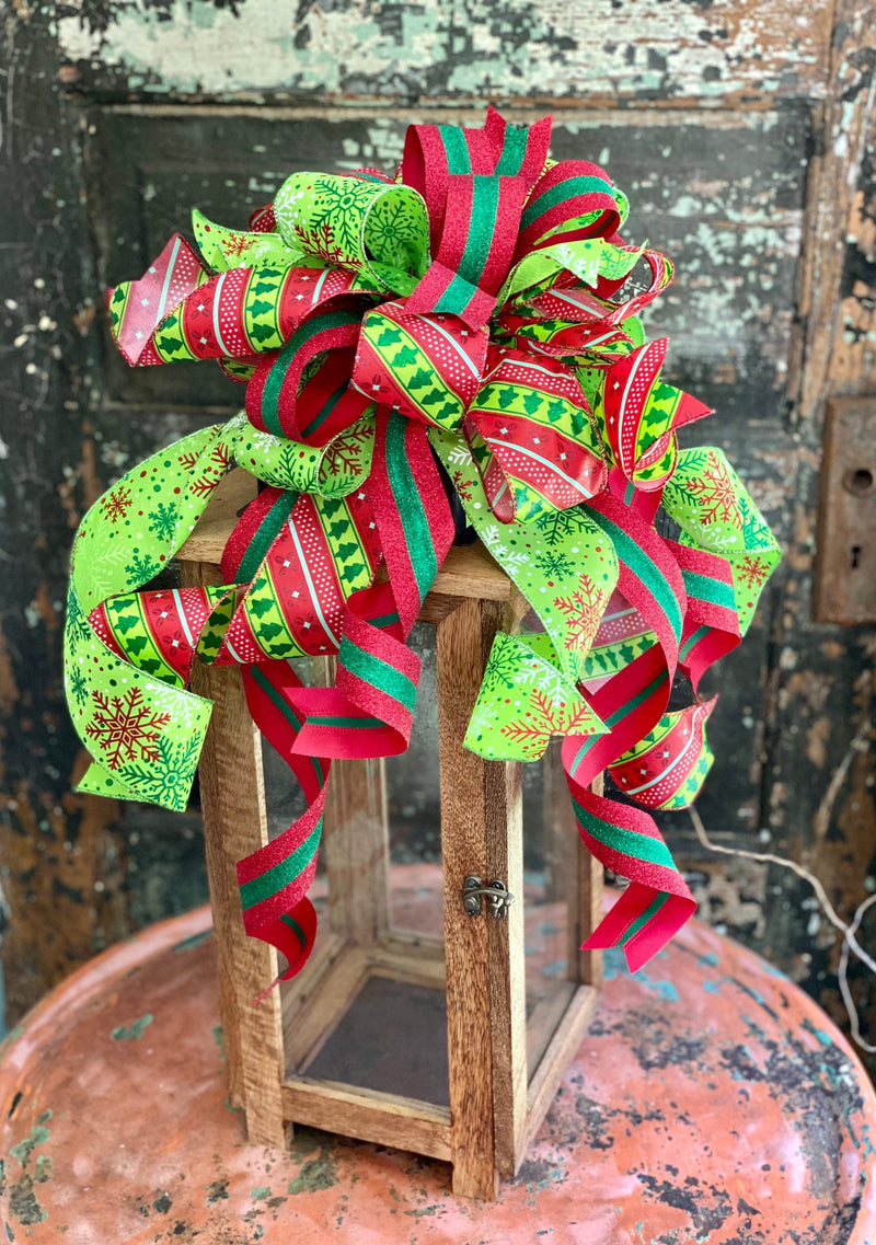 The Tannenbaum Red & Green Christmas Bow For Wreaths~Xmas bow for lantern~Glittering Christmas bow~swag bow~Traditional Christmas decor