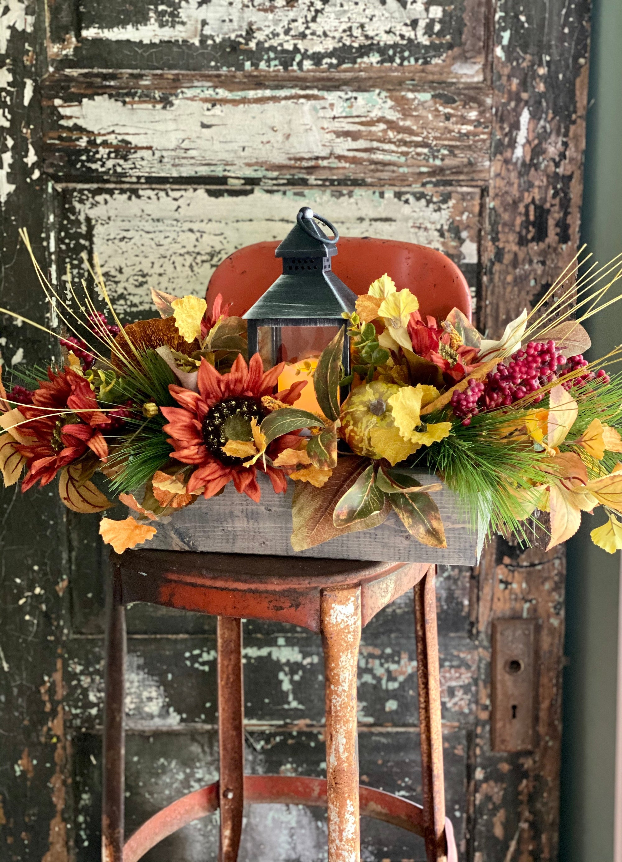 The Enola Fall Sunflower & Pumpkin Centerpiece For Dining Table, Lantern arrangement, Farmhouse cottage centerpiece, orange yellow red