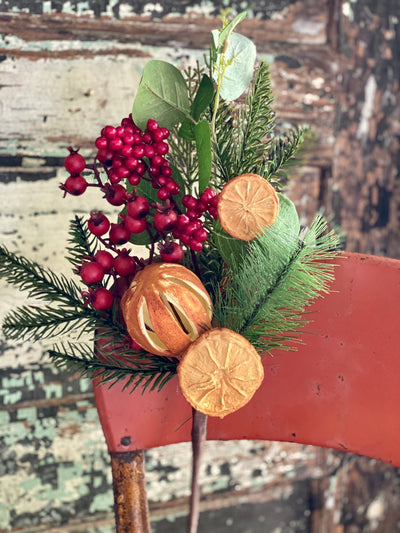 Dried Look Orange Slices With Mixed Pine & Berry Spray, Silk flower stem, Christmas artificial flower stem, craft supply, artificial fruit