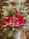 The Bethany Red Icy Hydrangea & Pine Christmas Centerpiece For Dining Table, winter decor, gift for her, holiday decor, winter arrangement