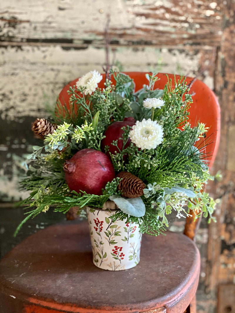 The Joy Pine Christmas Centerpiece~Winter centerpiece for kitchen table~red & white christmas arrangement, table top xmas decor