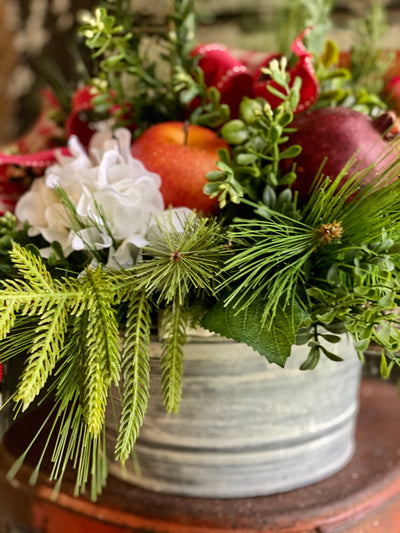 The Tessa Cream & Red Amaryllis Farmhouse centerpiece, Christmas Centerpiece For Dining Table, winter decor, gift for her, holiday decor