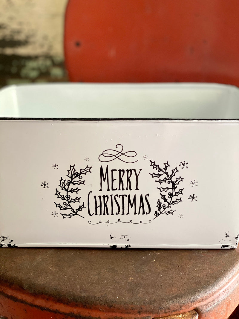 Oval Black & White Merry Christmas Bucket~Farmhouse XMAS tin planter, cabin decor, home decor~vintage style christmas planter