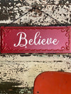 Red Tin Christmas Farmhouse Believe Sign~farmhouse Xmas decor~rustic decor~christmas cabin decor~Wreath attachment sign~holiday decor
