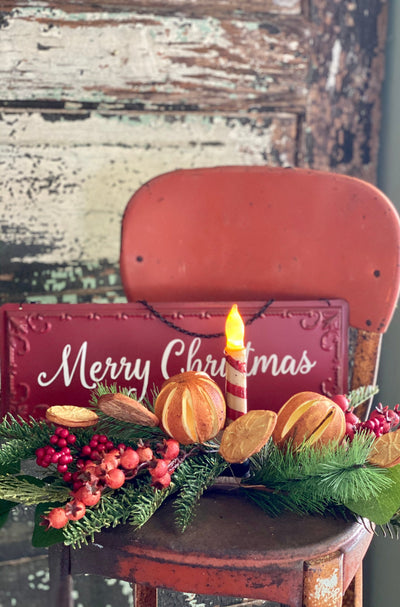 Red Merry Christmas Tin Sign~farmhouse Christmas decor~rustic decor~Xmas decor~cabin decor~holiday sign, wreath attachment