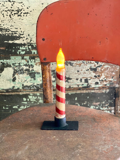 Vintage Style Candy Cane Stripe Taper Candle~Christmas Decor~Xmas Candle for windowsill~Farmhouse decor~Primitive christmas candle