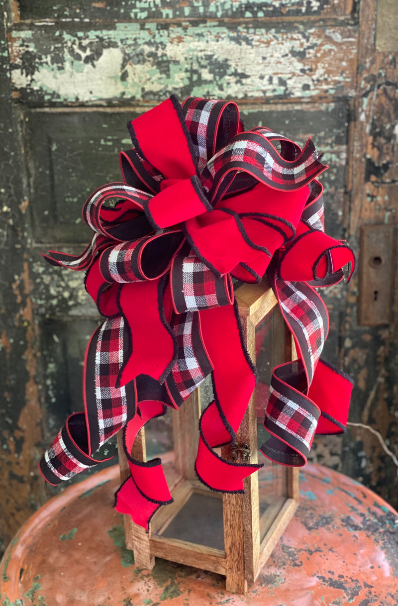 The Parker Red Black & White Plaid Christmas Tree Topper Bow, bow for lantern, bow for wreaths, long streamer bow, christmas decor
