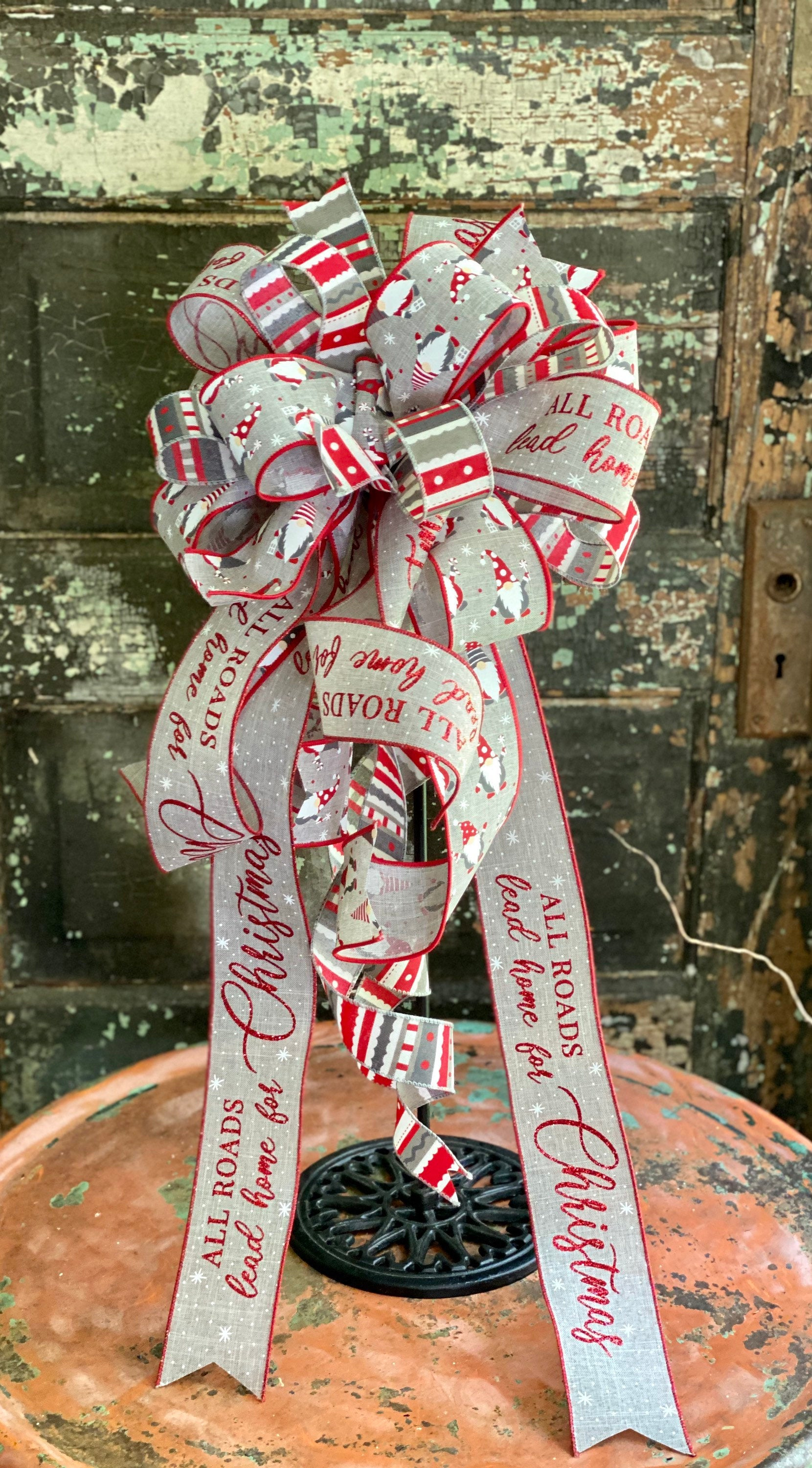 The Nipsy Red Gray & White Gnome Christmas Tree Topper Bow, bow for lantern, bow for wreaths, long streamer bow for mailbox, christmas decor