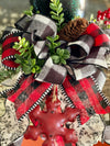 The Danielle Red Black & White Buffalo Check Christmas Tree Topper Top Hat~Farmhouse tree topper~tree topper with bow