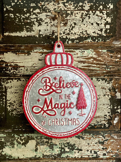 Vintage Style Galvanized Red Believe In Magic Of Christmas Sign~farmhouse Christmas decor~Xmas decor~ornament sign~wreath attachment