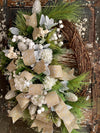 The Jessica Winter Woodland Icy Snow Christmas Wreath For Front Door~Farmhouse White hydrangea & pine wreath~gold and silver snowy