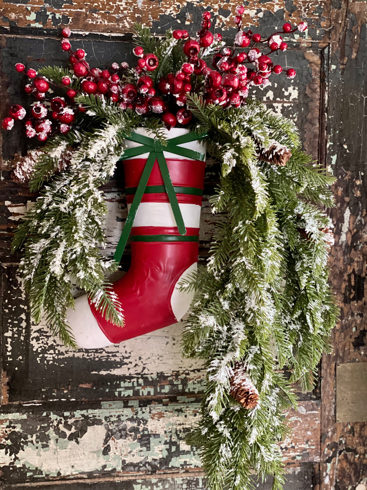 Red White & Green Metal Christmas Stocking Wall Vase~Farmhouse Christmas decor~Large Stocking wall hanger, holiday stocking