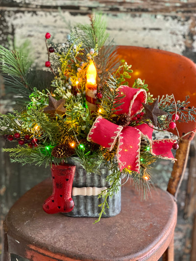 The Candy Red White & Green Christmas Centerpiece For Dining Table~Holiday centerpiece for kitchen table~pine Christmas candle arrangement