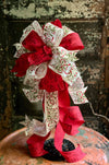 The Victoria Red & White Christmas Tree Topper Bow, bow for lantern, bow for wreaths, long streamer bow, christmas decor