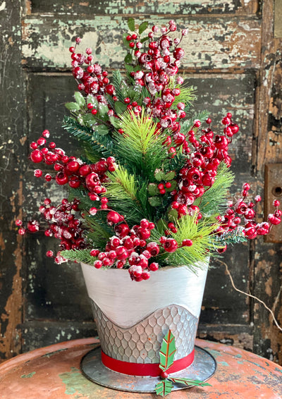 Red White Silver & Green Metal Christmas Top Hat Planter~Farmhouse Christmas decor~Christmas tree bucket, holiday container-pot cover