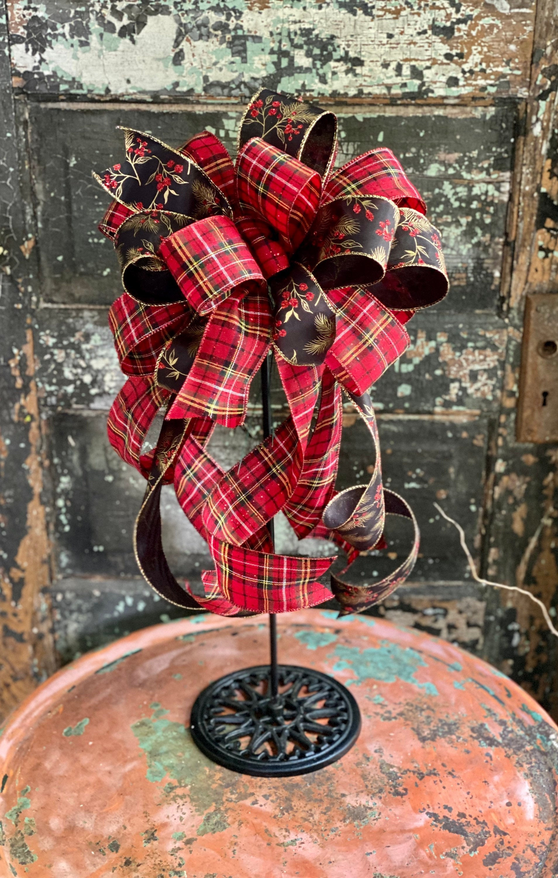 The Lily Red Black & Gold Plaid Christmas Tree Topper Bow, bow for lantern, bow for wreaths, long streamer bow, christmas decor
