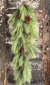 Extra Tall Long Needle Pine Christmas Swag, holiday greenery swag, wreath making supply, winter farmhouse decor, holiday decor
