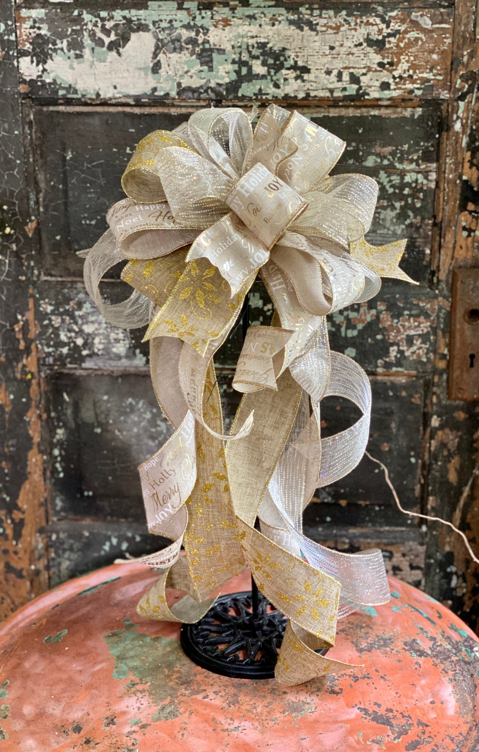 The Clara Cream Silver & Gold Christmas Tree Topper Bow~Bow for wreaths~Xmas bow for lantern~large bow~long streamer bow~mailbox decor