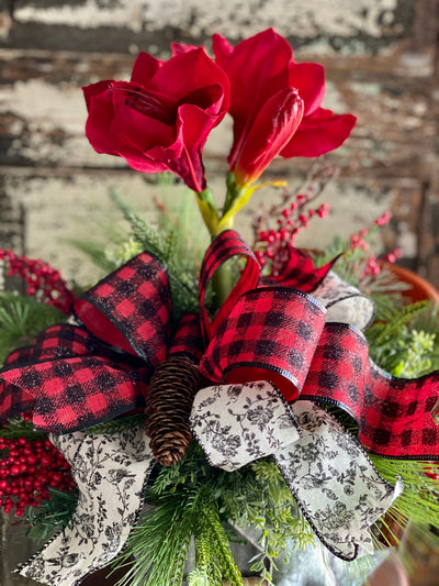 The Evette Red Amaryllis & Pine Christmas Centerpiece For Dining Table, winter decor, gift for her, holiday decor, christmas pine