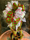 The Merri Red & Green Christmas Bow For Wreaths~Xmas bow for lantern~Glittering Christmas bow~swag bow~Traditional Christmas decor