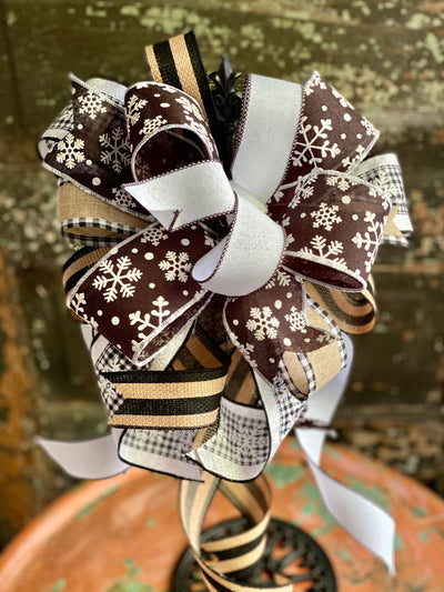 The Cassie Tan Black & White Winter Snowflake Bow, bow for wreaths, lantern bow, winter bow, winter decor, rustic decor, mailbox bow, snowy