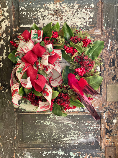 The Jane Red Cardinal Berry & Magnolia Rustic Christmas Wreath For Front door, Farmhouse Wreath, Winter wreath, Cabin Holiday wreath
