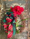 The Nataylia Red Amaryllis Berry & Pine Christmas Wreath For Front door, Farmhouse Winter Wreath, Holiday wreath, natural botanical wreath